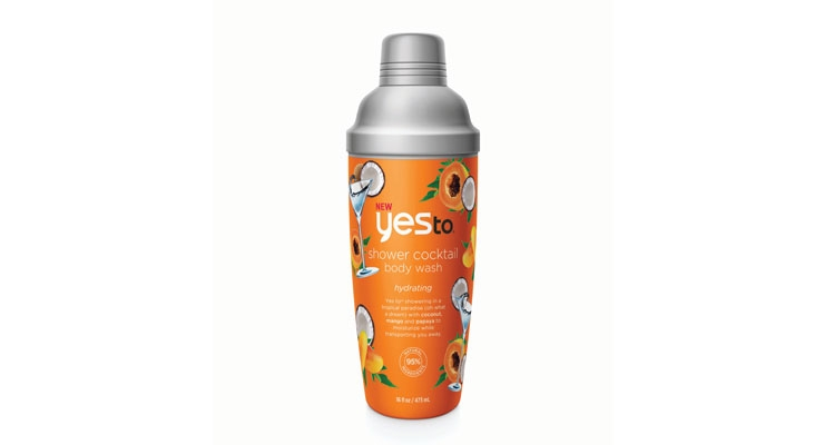 Cheers! Yes To's body wash bottle  resembles a cocktail shaker.
