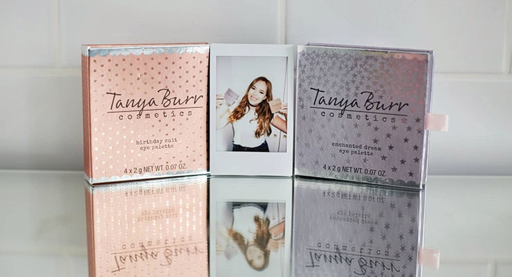 Tanya Burr Cosmetics targets a young audience, but the  use of metallics helps to instill a sense of premium specialness.