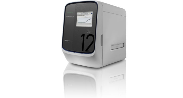 The QuantStudio 12 is the Thermo Fisher Scientific instrument that processes the OpenArray plates that carry the PCR reagents and the nucleic acid samples accomplishing the multiplex pathogen detection. Image courtesy of Thermo Fisher Scientific.