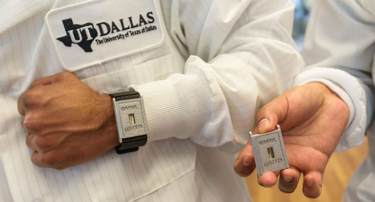 Researchers at the University of Texas at Dallas have developed a wearable diagnostic biosensor that can detect three interconnected, diabetes-related compounds—cortisol, glucose and interleukin-6—in perspired sweat for up to a week without loss of signal integrity. The team envisions that their wearable devices will contain a small transceiver to send data to an application installed on a cellphone. Image courtesy of University of Texas at Dallas.