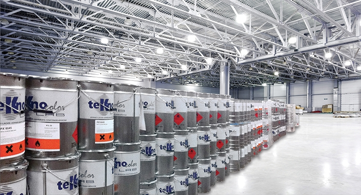 The use of coating per capita in Russia will rise twofold by 2030 (In the photo: Teknocoatings warehouse near St. Petersburg).