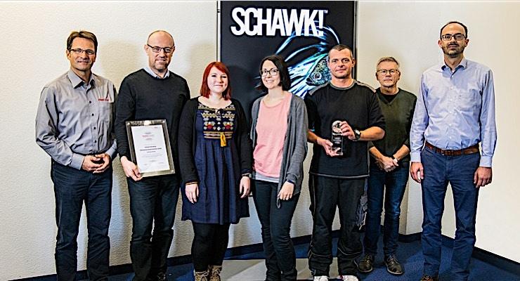 The Schawk Nuremberg team receives the FlexoExpert certification from Flint Group.