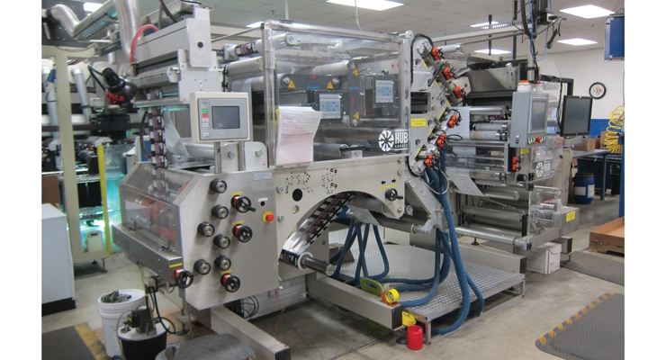 Hub Labels' machinery for linerless label production.