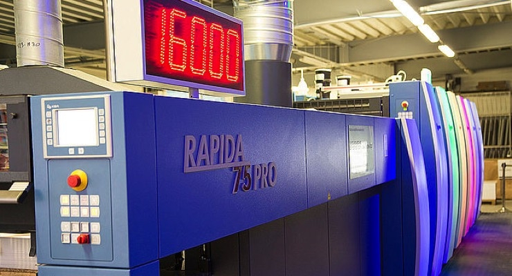 KBA's Rapida 75 PRO prints at 16,000 sph with numerous automation features, including UV LED..