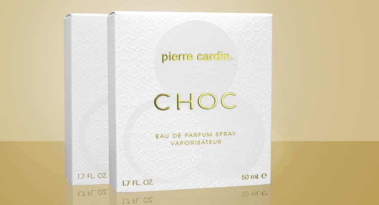 Diamond Packaging's carton for Five Star Fragrance  Company's Pierre Cardin Choc fragrance.