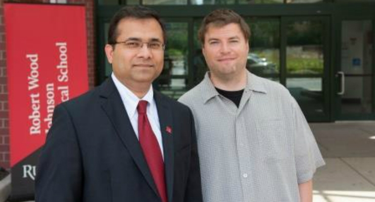 Gaurav Gupta, M.D., assistant professor of neurosurgery at Rutgers Robert Wood Johnson Medical School (left) with patient Chris Cahill who received a 3D printed skull. Image courtesy of John Emerson.