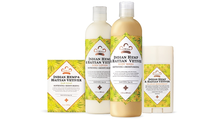 New packaging for Nubian Heritage's Indian Hemp collection: What a difference the right labeling makes.