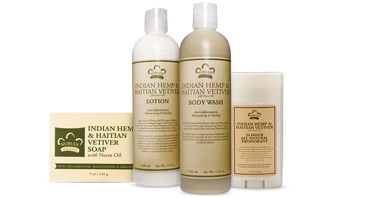 Old packaging for Nubian Heritage's Indian Hemp collection: What a difference the right labeling makes.
