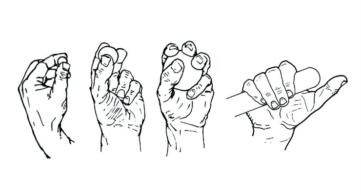 Figure 3: From left to right, bilateral and trilateral precision grips, multilateral power grip, and hook grip. Image courtesy of Metaphase Design Group Inc.
