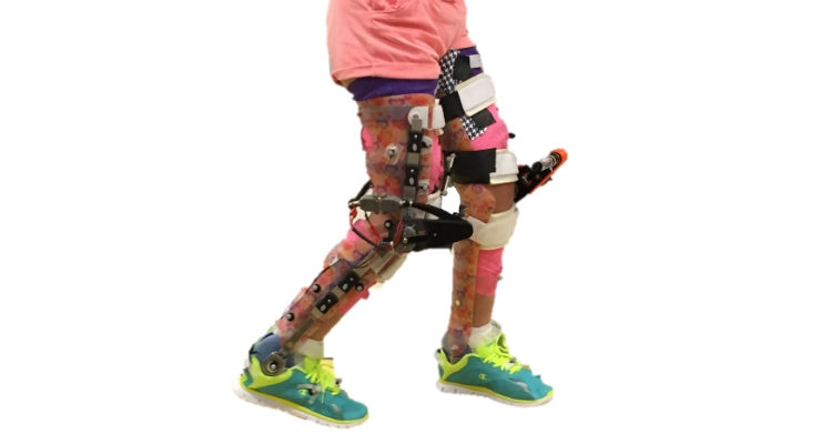 Study participant wearing a robotic exoskeleton. Image courtesy of Zachary F. Lerner et al., Science Translational Medicine 9, eaam9145 (2017).