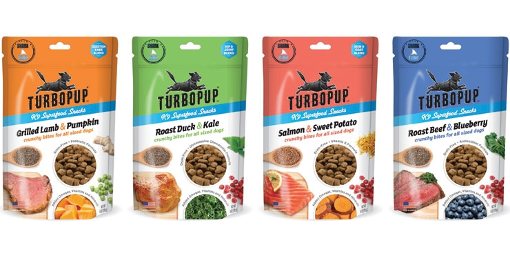 Turbopop K9 Superfood Snacks feature nutritional ingredients such as probiotics, antioxidants, glucosamine and chondroitin, and vitamin E.