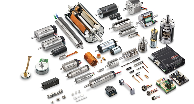 High precision brushed and brushless DC motors ranging in size from 4 to 90mm combined with gearheads, encoders, and control electronics. Image courtesy of maxon precision motors.