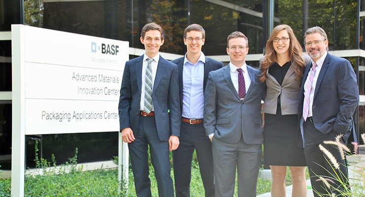 Keith Middleton, BASF team coach and strategic customer development program manager (far right) with the winning team from the University of Colorado (L to R): Kyle Foster, Ryan Pearson, Matthew Ryan and Kristen Hess.