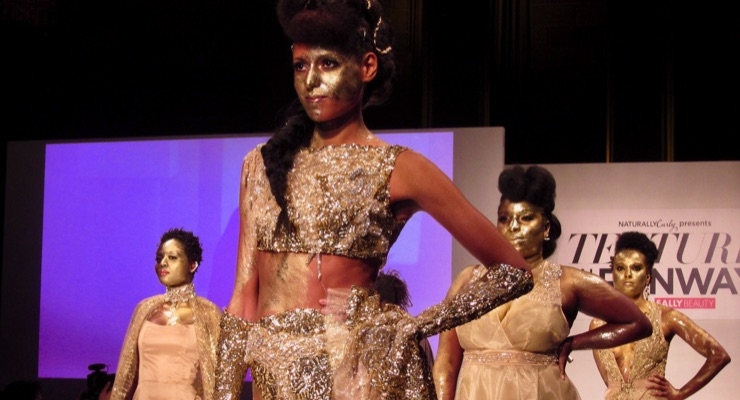 Mielle Organics featured braids, pompadours, and gold on the runway.