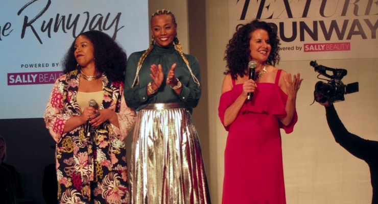 Texture on the Runway finale, with, left to right: Monica Stevens, Karonda Cook and Michelle Breyer, co-founder, NaturallyCurly.