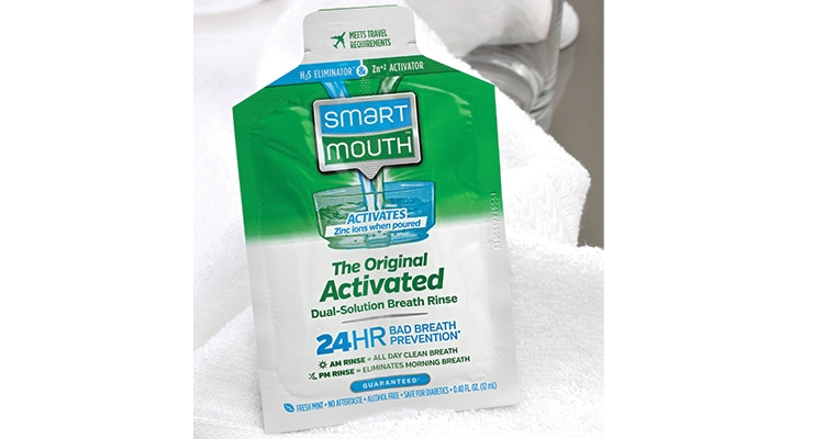 smart mouth breath rinse is an innovative flexible packaging design from Inland Packaging. (Photo courtesy of Inland Packaging)