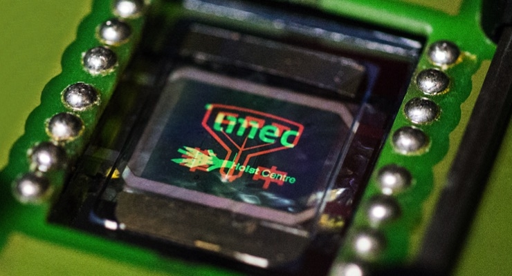 Multicolor OLED display from CPT, imec and Holst Centre. (Source: imec)