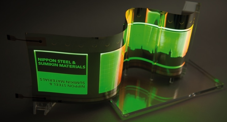OLEDs on stainless steel foil. (Source: Fraunhofer FEP)