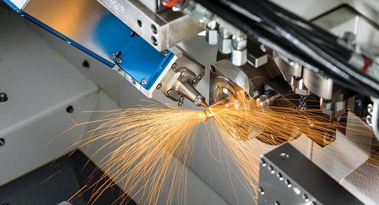 Tight tolerance, fine kerf laser cutting of stainless steel tubing in a Citizen L20 Swiss machine. Image courtesy of Marubeni Citizen-Cincom.