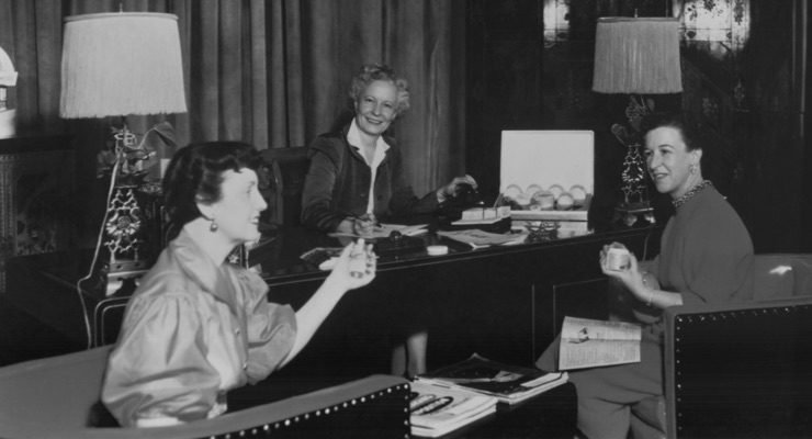 Sally Forth. Sally Hansen (center) created a cosmetics empire during a time when most women didn