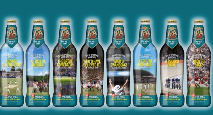 Berkshire Labels used digital print technology for Greene King's IPA campaign that highlights 60 years of British sporting success.