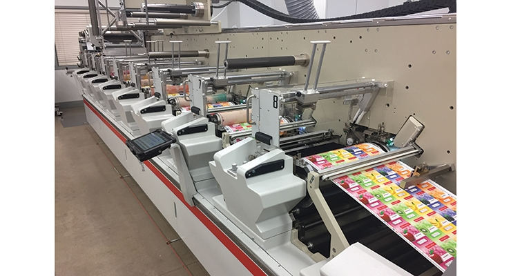 The Bobst M5 flexo press installed at APR's Illinois headquarters is used to print both labels and flexible packaging