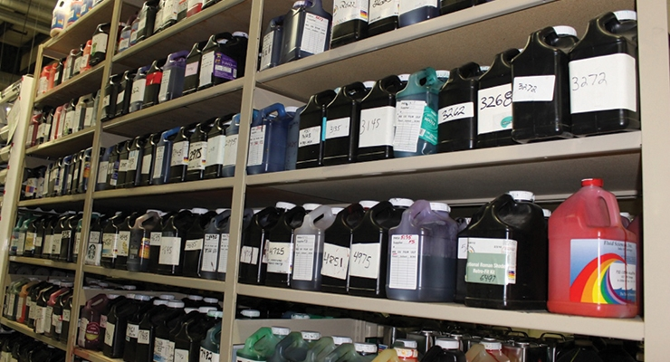 Great Lakes Label saves time and waste by properly labeling its ink jugs.