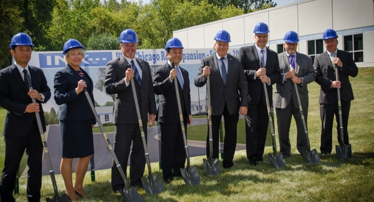 INX International Ink Co. officials participated in an expansion groundbreaking ceremony at the R&D facility in West Chicago, IL. From left to right: Takayuki Shirafuji, VP, Assistant Treasurer; Susan Supergan, Senior VP, Human Resources; Bryce Kristo, Senior VP, Chief Financial Officer; Kotaro Morita, Chairman; Rick Clendenning, President & CEO; Rick Westrom, Senior VP, Strategic Sourcing and R&D; John Hrdlick, Senior VP and Chief Operating Officer; and Matthew Mason, VP, General Council.