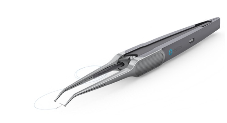 The Switch is a single-use precision-suturing instrument that enables surgeons to suture with one hand. Image courtesy of Mellon Medical.