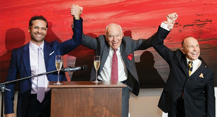 Leonard Lauder delivers a toast to Arkay Packaging (L-R):  Mitchell Kaneff, Lauder, Howard Kaneff