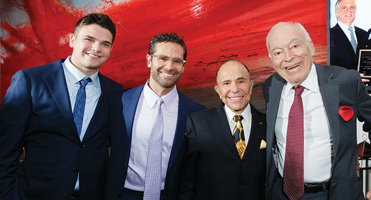 Three generations of Kaneffs—Josh, Mitchell and Howard Kaneff,  with Leonard Lauder
