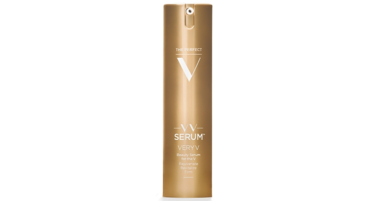 The Perfect V's VV Serum, is housed in an airless bottle with a metallized bronze gold finish.