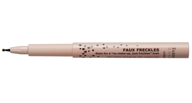 "Faber-Castell's Faux Freckles pen produces a ""no makeup, just freckles"" look."
