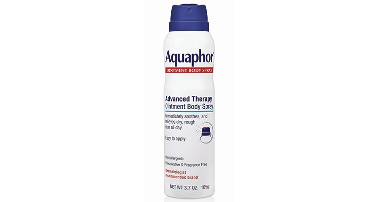 Launched in September, Aquaphor Advanced Therapy Ointment Body Spray is the industry's first ointment delivered via a non-ozone depleting aerosol system.