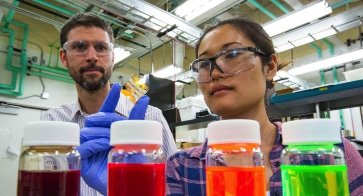 A woman holds a small thin film while a man looks on. (Photo by Werner Slocum/NREL)