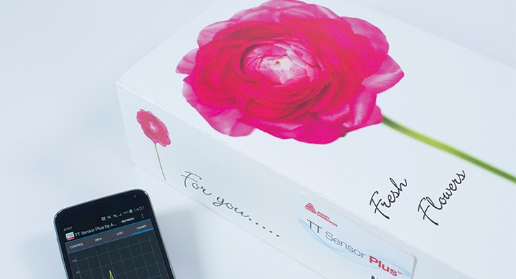 Avery Dennison's TT Sensor Plus logger and app can be used for perishables such as flowers. (Photo courtesy of Avery Dennison)