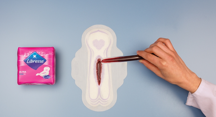 Bold new advertisements for Essity's feminine hygiene products show blood-red liquid on a pad instead of the traditional blue liquid.