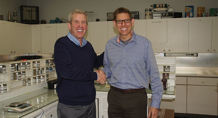 Tom Alden, left, president of Alden & Ott, and Derek McFarland, right, president - Americas, hubergroup USA. (Photo courtesy of hubergroup)