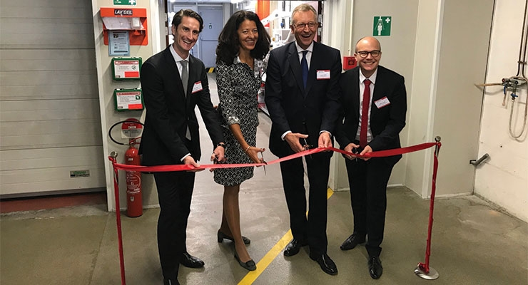From left, Jens Adrio, head of corporate development; Veronique Danois, president of Siegwerk France; CEO Herbert Forker; and Matthieu Carni, business development manager; open the new production facility for inkjet inks in Annemasse, France. (Photo courtesy of Siegwerk)