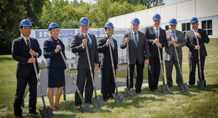 INX International Ink Co. officials participated in a groundbreaking ceremony at the R&D facility in West Chicago, IL. From left,  Takayuki Shirafuji, VP, assistant treasurer; Susan Supergan, SVP, human resources; Bryce Kristo, SVP, CFO; Kotaro Morita, chairman; Rick Clendenning, president and CEO; Rick Westrom, SVP, Strategic Sourcing and R&D; John Hrdlick, SVP and COO; and Matthew Mason, VP, general counsel. (Photo courtesy of INX)