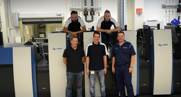 The printers from Länggass Druck during training on the new press at KBA-Sheetfed. (Source: Koenig & Bauer)