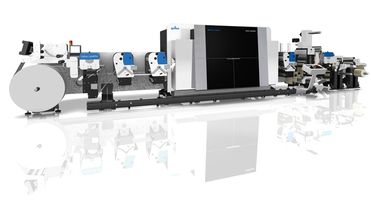 The Gallus Labelfire 340 features 1200 x 1200 dpi native resolution and inline finishing processes that include a rotary screen printing unit.