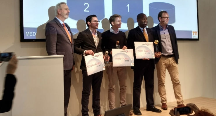 iSikCure (second from right), a mobile platform for users to conveniently seek, find and pay for health services and medicines in the Africa market took home 1st place—€2,000, a one month free working space at Bayer Pharma Headquarters in Berlin, two SXSW 2018 interactive badge registrations valued at $1,325, and one exclusive ticket for the SBC Masterclass in Berlin during the next SBC Health Program. Air Smart Spirometer (second from left), which measures lung health in seconds using a professional spirometer that can be connected to the user's smartphone, was awarded 2nd place—€1,000, 90 minutes of mentoring by the G4A team, and a dinner with a SBC mentor in Berlin, Germany. Kaia (center), an app for holistic digital back pain therapy with a personalized mind-body program won 3rd place— €500, 10 minutes of stage time on the next STEM4 Health meetup in Berlin, and one hour of SBC Online Mentor Office Hours. Congratulations to each of these digital health innovators!