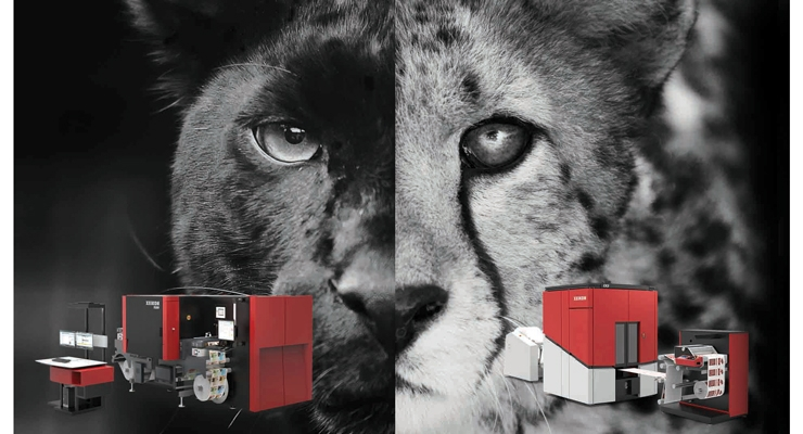 At left, the Xeikon PX3000 inkjet press based on Panther technology; at right, the Cheetah-powered CX500.