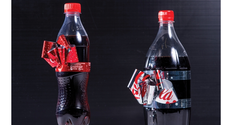 "Constantia Flexibles created this award-winning packaging innovation for Coca-Cola, the ""The Christmas Bow Label."""