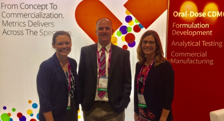 The Metrics team at AAPS 2017 in San Diego. From left to right: Kimberly McClintock, EVP; Tom Salus, director of sales; Natasha Savage, technical business development manager.