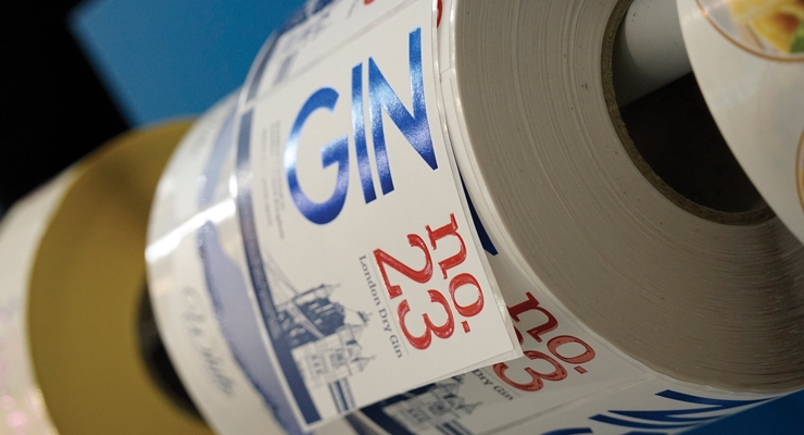 A spirits label sample printed on the AccurioLabel 190 toner-based digital press, the newest launch from Konica Minolta.