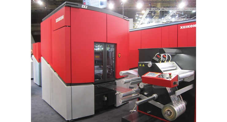 One of the many Xeikon digital presses  demonstrated at Labelexpo Europe.