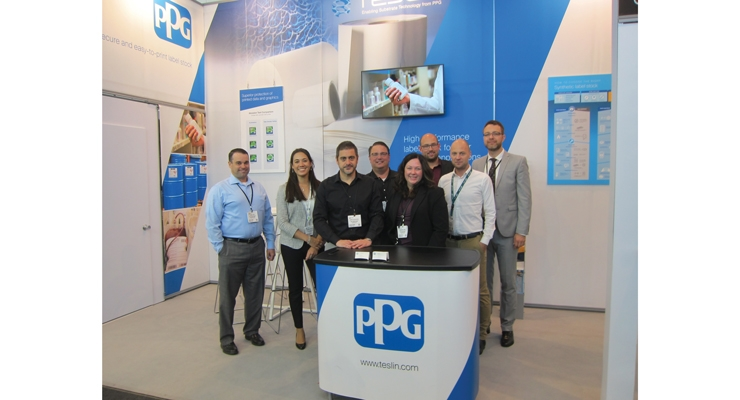 The PPG team at Labelexpo Europe was on hand to promote the  durability and performance benefits of Teslin labelstock.