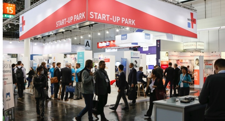 The Start-Up Park that debuted at this year's Medica attracted a steady stream of visitors during the four-day event. The 16 companies within the park showcased a range of technologies, from a smartphone-enabled peak flow meter and sensor-system belt to a Cloud-driven tool for ECG analysis. Image courtesy of Messe Düsseldorf.